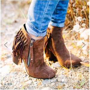Fashion Round Toe Tassel High Heel Chunky Boots