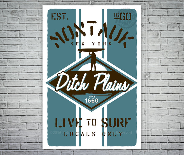 Montauk Ditch Plains Surfer Screen Print