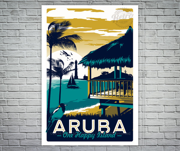 "Aruba ""one happy island"" vintage screen print/poster"