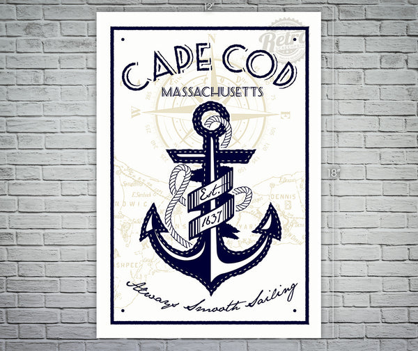 Cape Cod Massachusetts Anchor Screen Print
