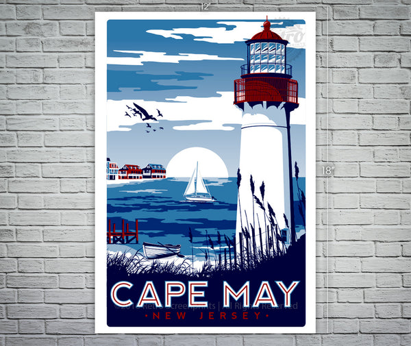 Cape May New Jersey Lighthouse Travel Poster