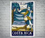 Costa Rica Polygonal Style Pura Vida Beach Screen Print