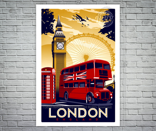London England Vintage Retro Travel Screen Print Poster