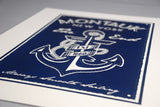 navy montauk new york anchor screen print