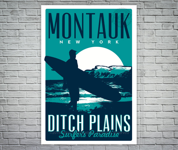 Montauk Ditch Plains Surfer's Paradise  Screen print