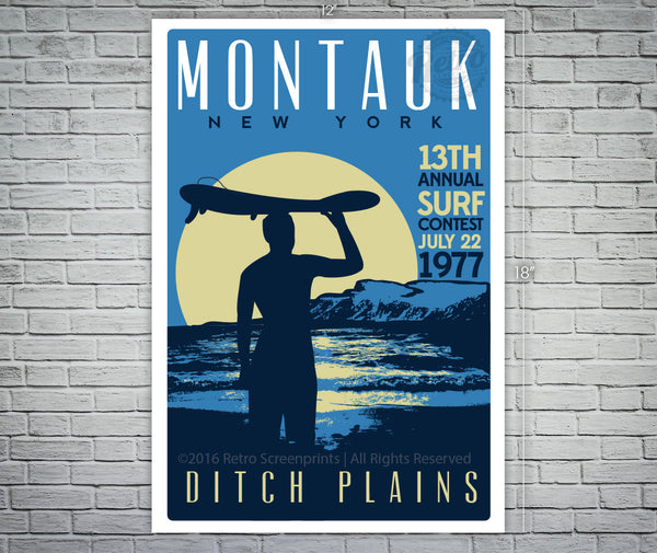Montauk Ditch Plains Surf Contest screen print