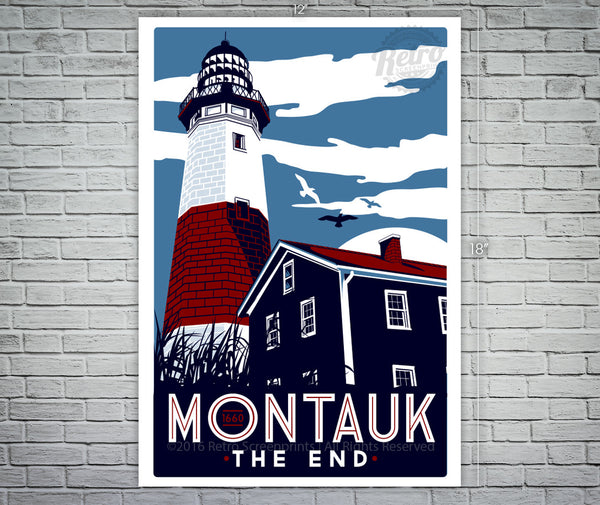 Montauk Light House Screen Print