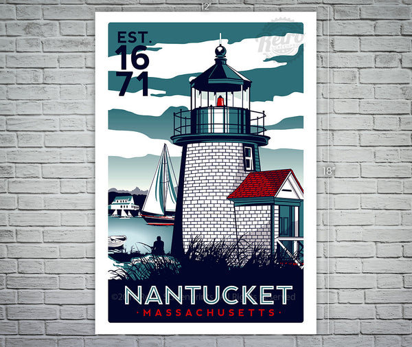 Nantucket Massachusetts Light House Sailing Screen Print