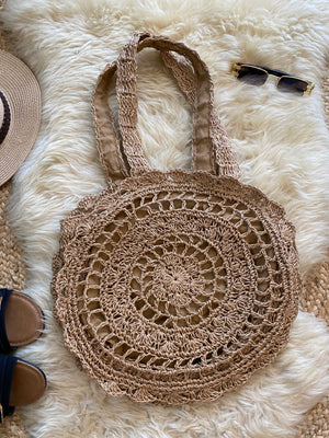 DOUBLE LAYERED CROCHET BAG- BROWN