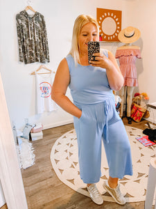 THE Cropped Jumpsuit - Sky Blue