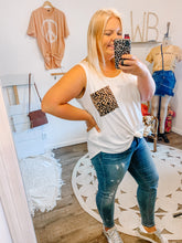 Load image into Gallery viewer, White Leopard Pocket Tank - PLUS
