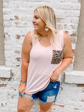 Load image into Gallery viewer, Blush Leopard Pocket Tank