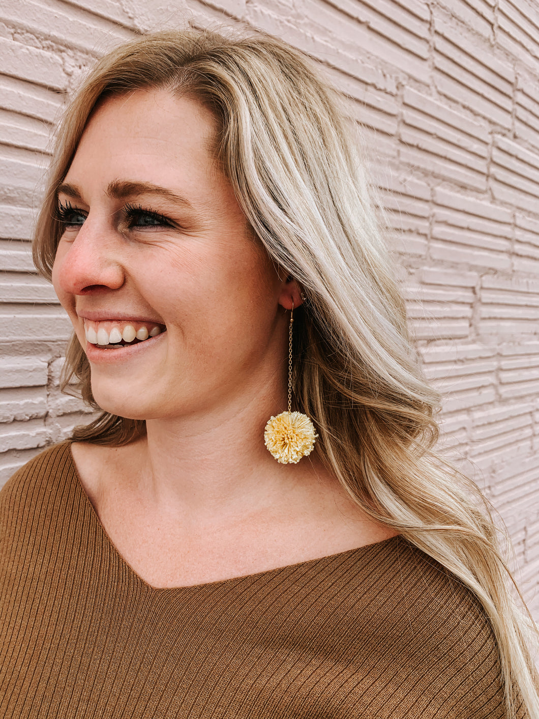 Yellow Pom Earring