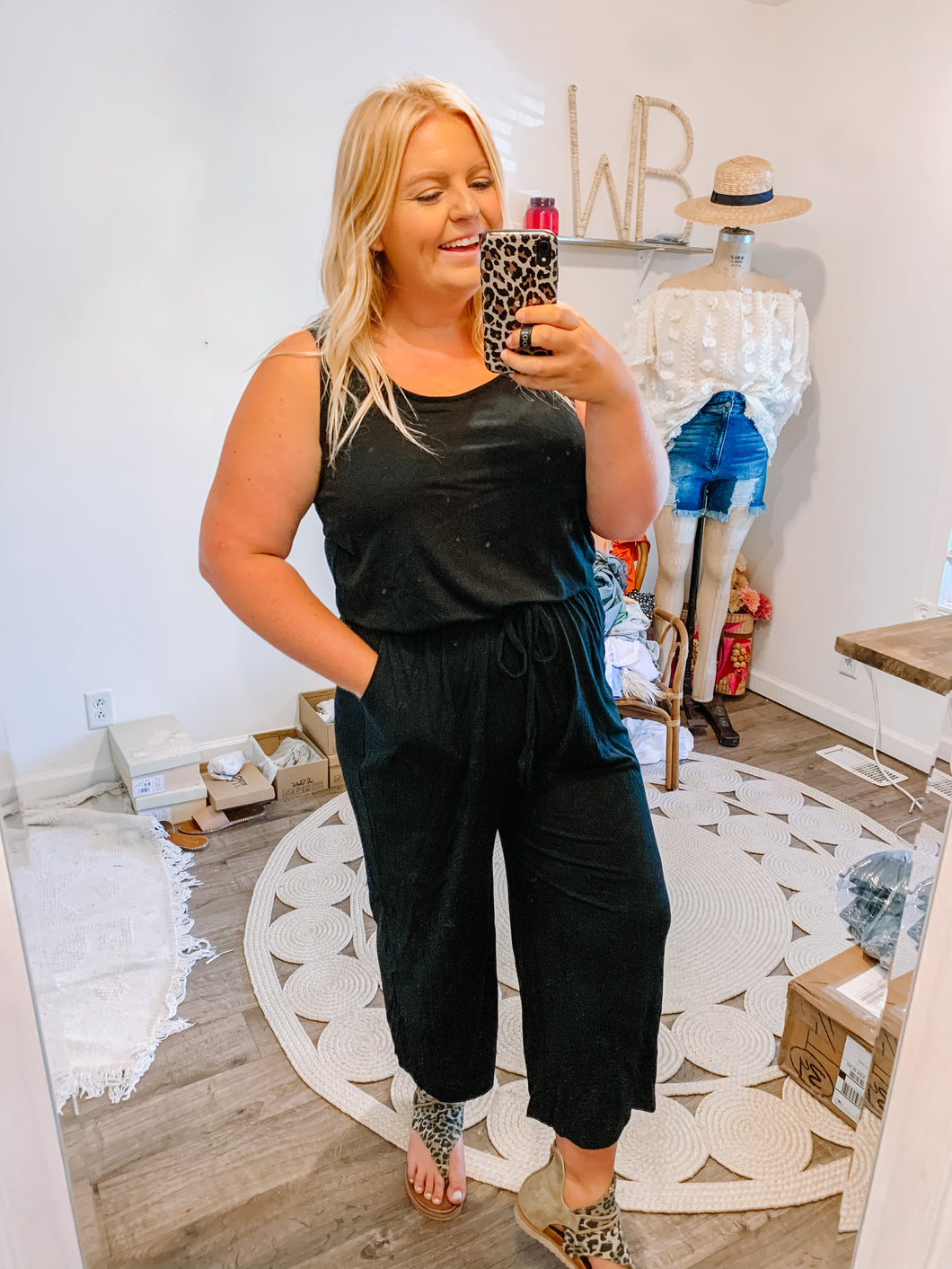 THE Cropped Jumpsuit - Black