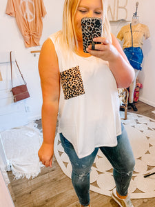 White Leopard Pocket Tank - PLUS