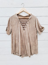 Load image into Gallery viewer, Lace Up Mineral Tee