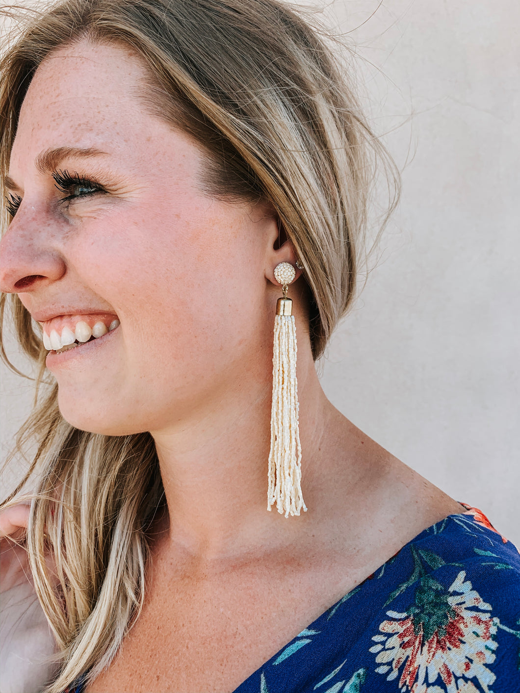 White Waterfall Fringe Earring
