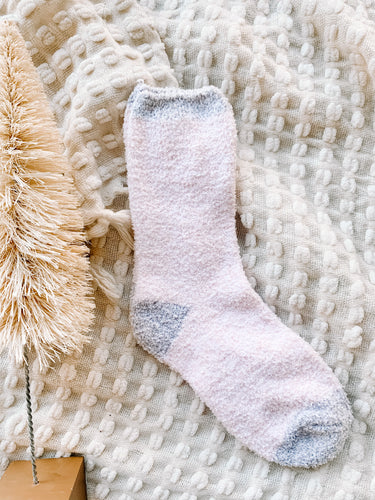 Gonna Stay Home Pink Fuzzy Socks