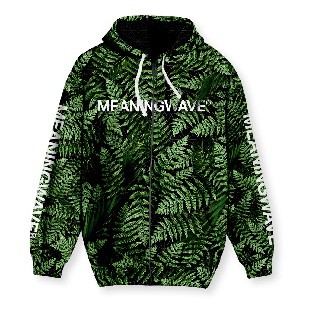 MEANINGWAVE AESTHETIC FERN Men's Zip-Up Hoodie