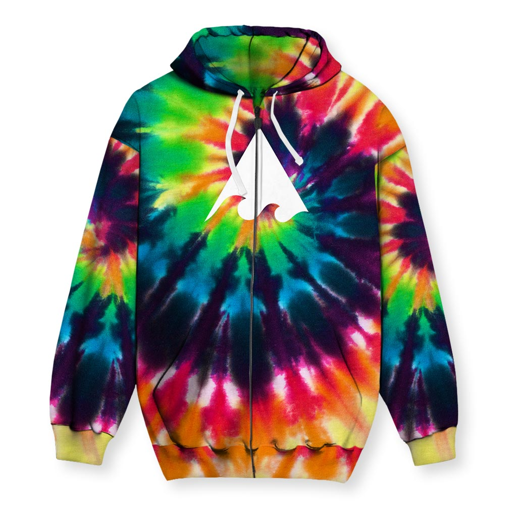 Meaningwave Tyedye Men's Zip-Up Hoodie