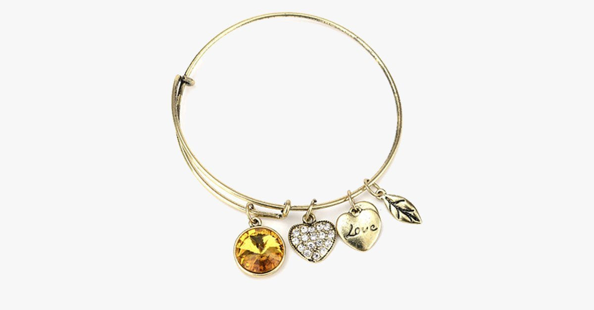 November Birthstone Charm Bangle - FREE SHIP DEALS