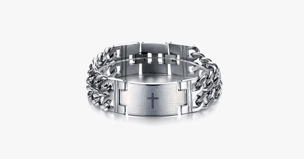 Bold Cross Stainless Steel Men's Bracelet - FREE SHIP DEALS