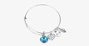 March Birthstone Charm Bangle