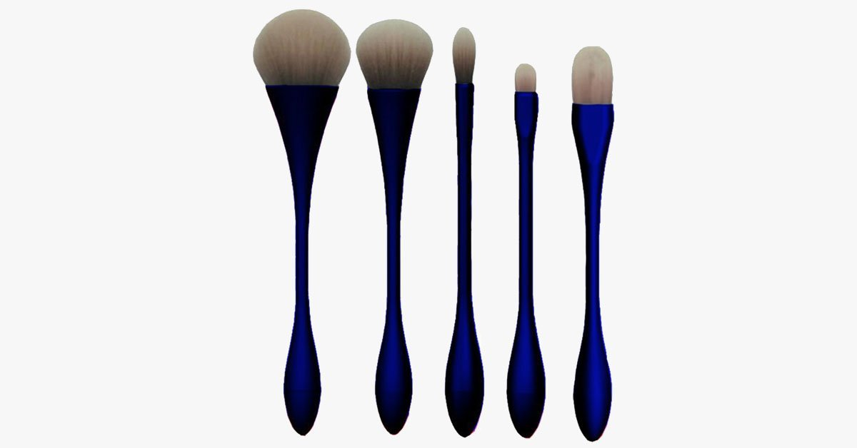 Professional Makeup Brush Set - 5 Pieces of Hour Glass Brush - Available in 5 Colors - Your Makeup Partner!