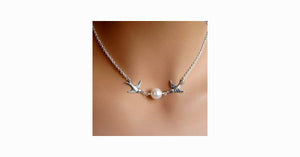 Bird Pearl Collarbone Length Necklace - FREE SHIP DEALS
