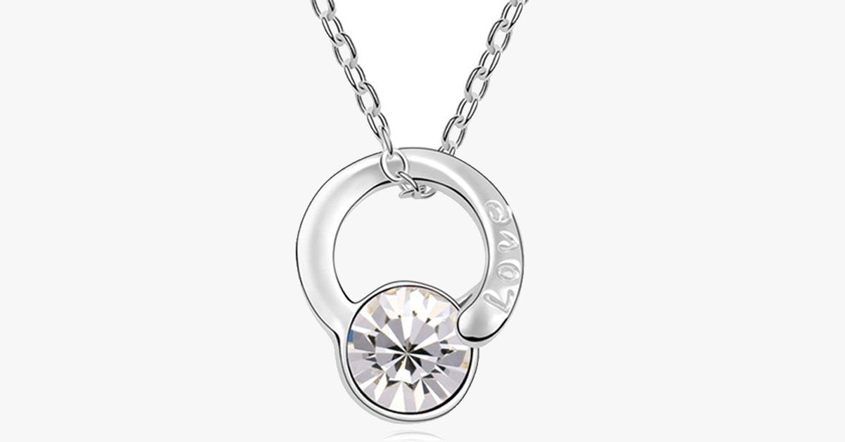 Love Inscribed Florence Crystal Pendant - FREE SHIP DEALS