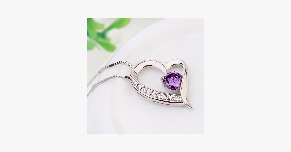 Crystal Heart Silver Pendant(Purple) - FREE SHIP DEALS