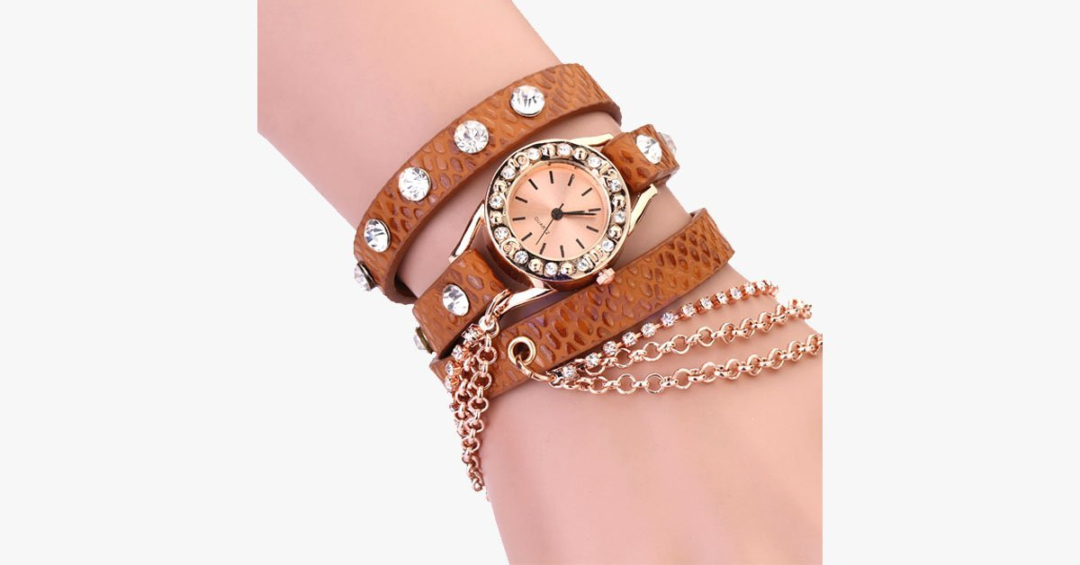 Rivet Chain Quartz Wrist Watch