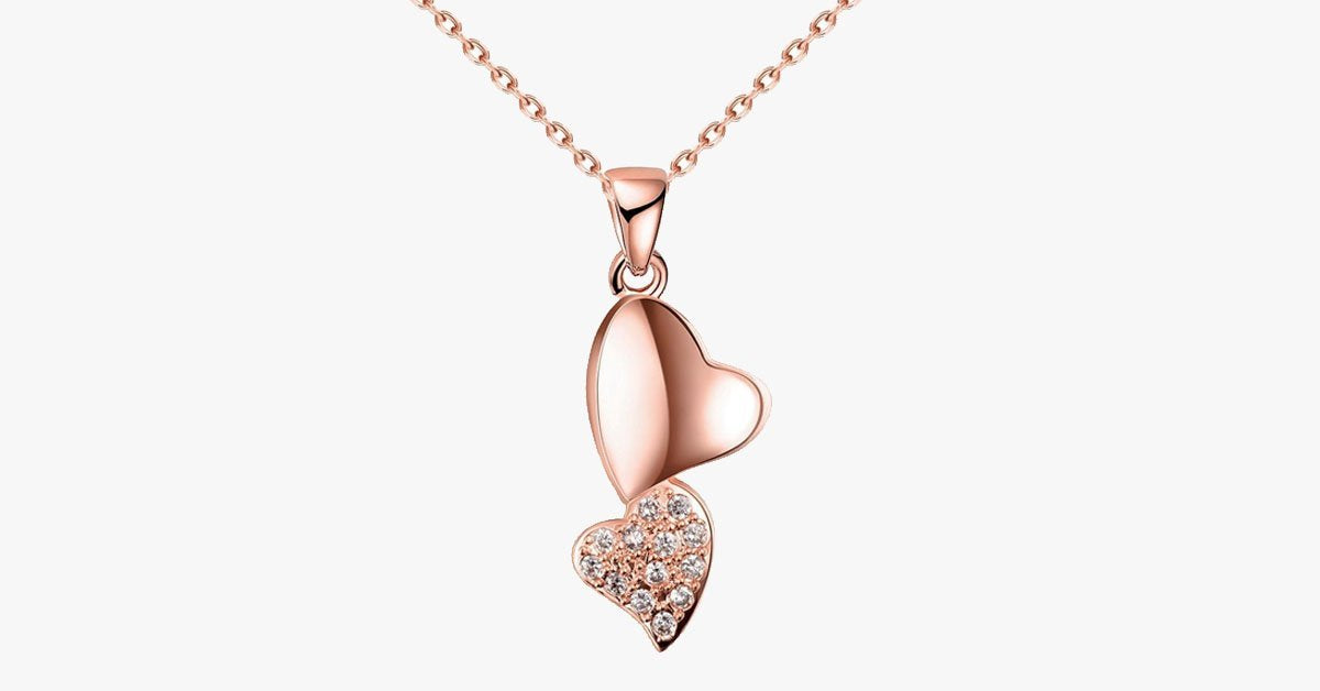 Romantic Double Heart Crystal Pendant Necklace