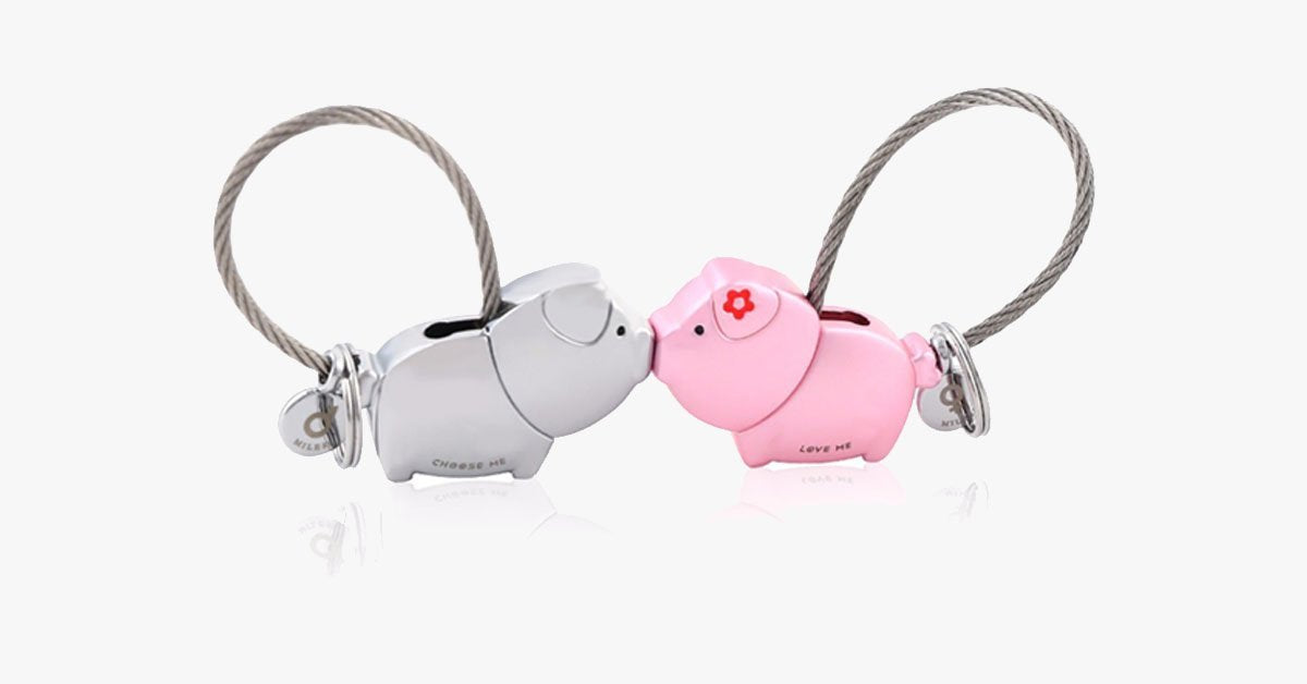 Pig Key Ring For Lovers With Free Gift Box