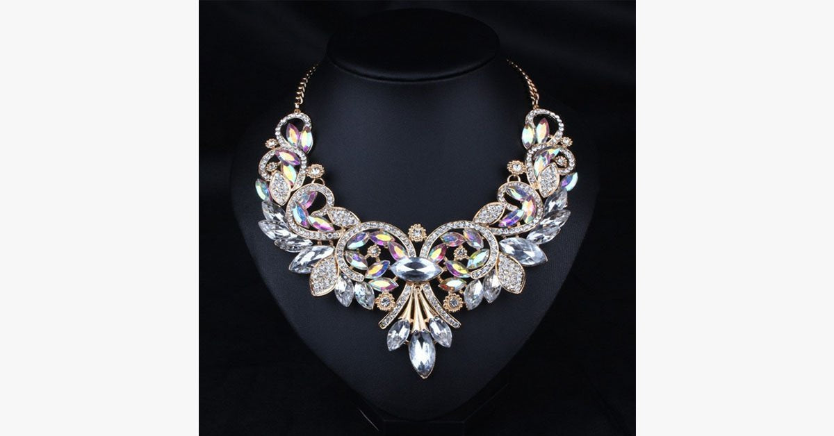 Shine Crystal Flower Necklace