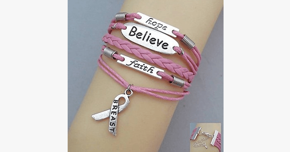 Hope Believe and Faith - Show Your Support Breast Cancer - FREE SHIP DEALS
