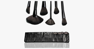 32 Piece Makeup Brush Set with Case in BLACK - FREE SHIP DEALS