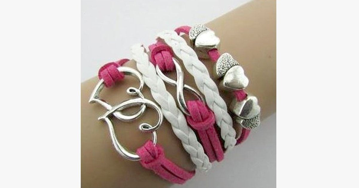 Double Heart Infinity Bracelet - FREE SHIP DEALS