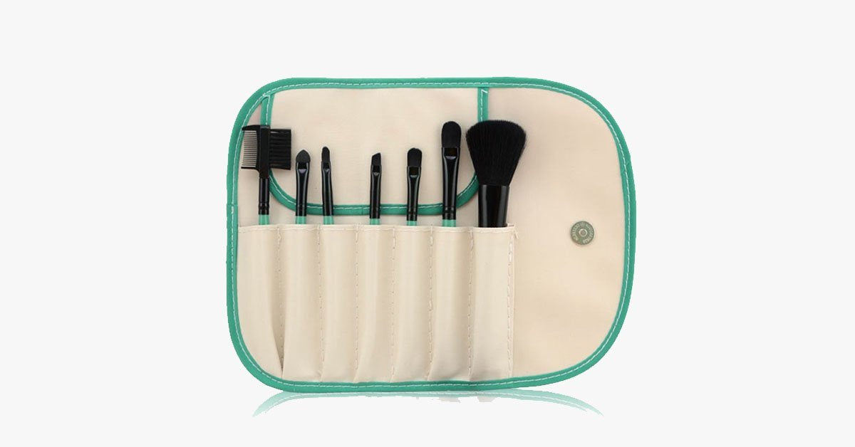 7 Piece Brush Set White and Green - FREE SHIP DEALS