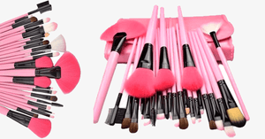 24 Piece Pink Glory Brush Set with Free Case - FREE SHIP DEALS