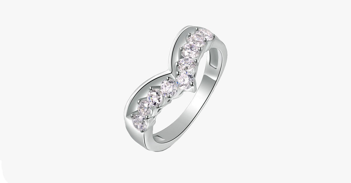 Platinum Plated Heart Curve Ring