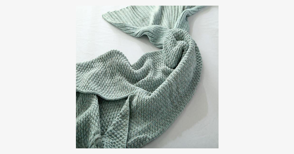 Cozy Cotton-Knit Mermaid Tail Blanket - FREE SHIP DEALS