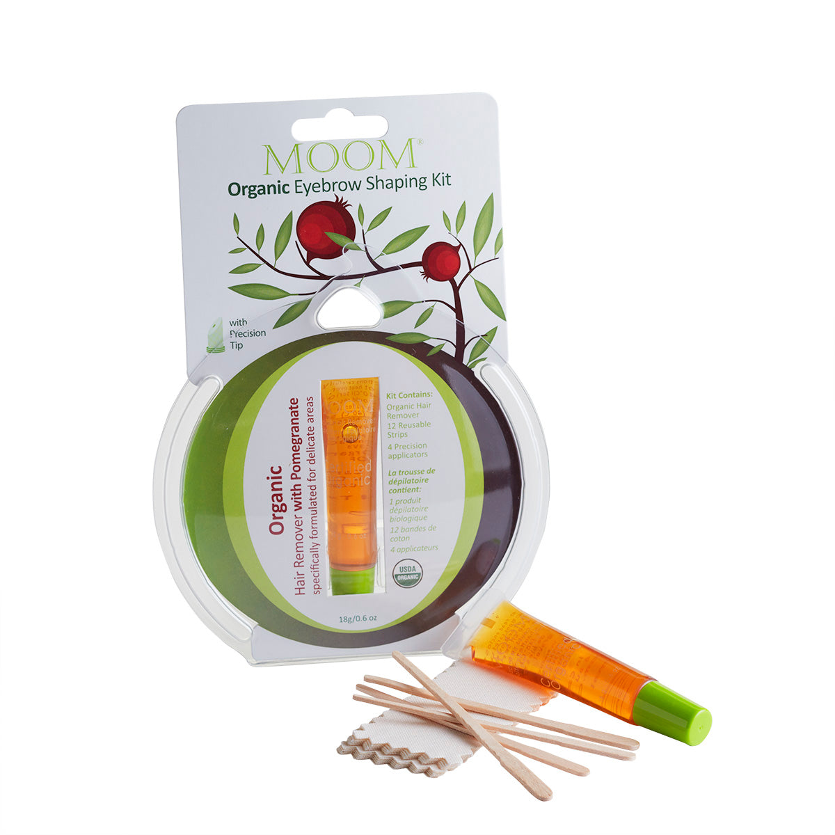 MOOM Organic Eyebrow Shaping Kit with Pomegranate