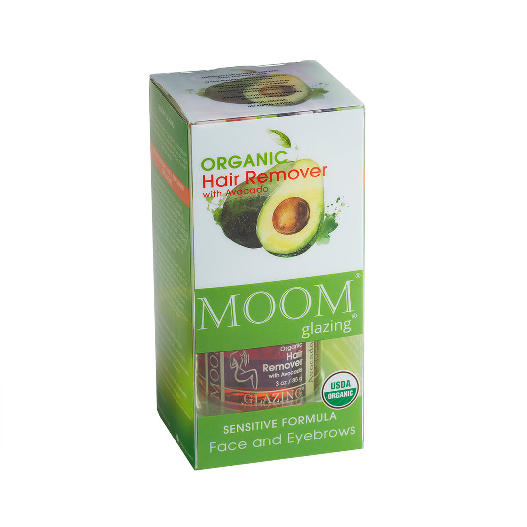MOOM Glazing Organic Hair Remover with Avocado Face and Eyebrows (3oz/85g)