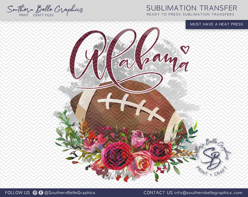 Alabama Football Watercolor Sublimation Transfer