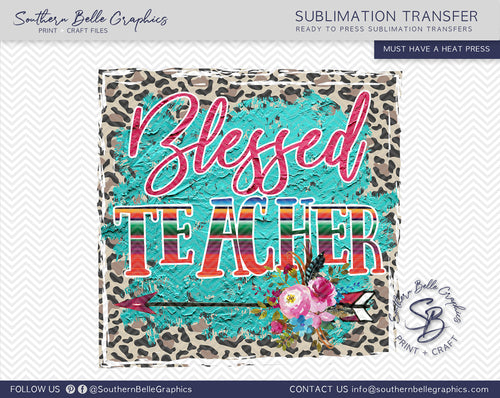 Blessed Teacher Boho Sublimation Transfer