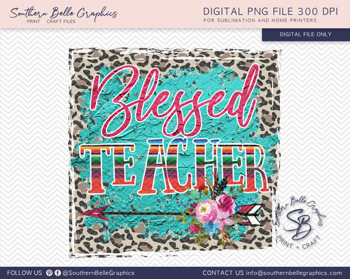 Blessed Teacher Boho Sublimation PNG File