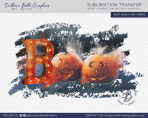Boo Halloween Pumpkins Sublimation Transfer
