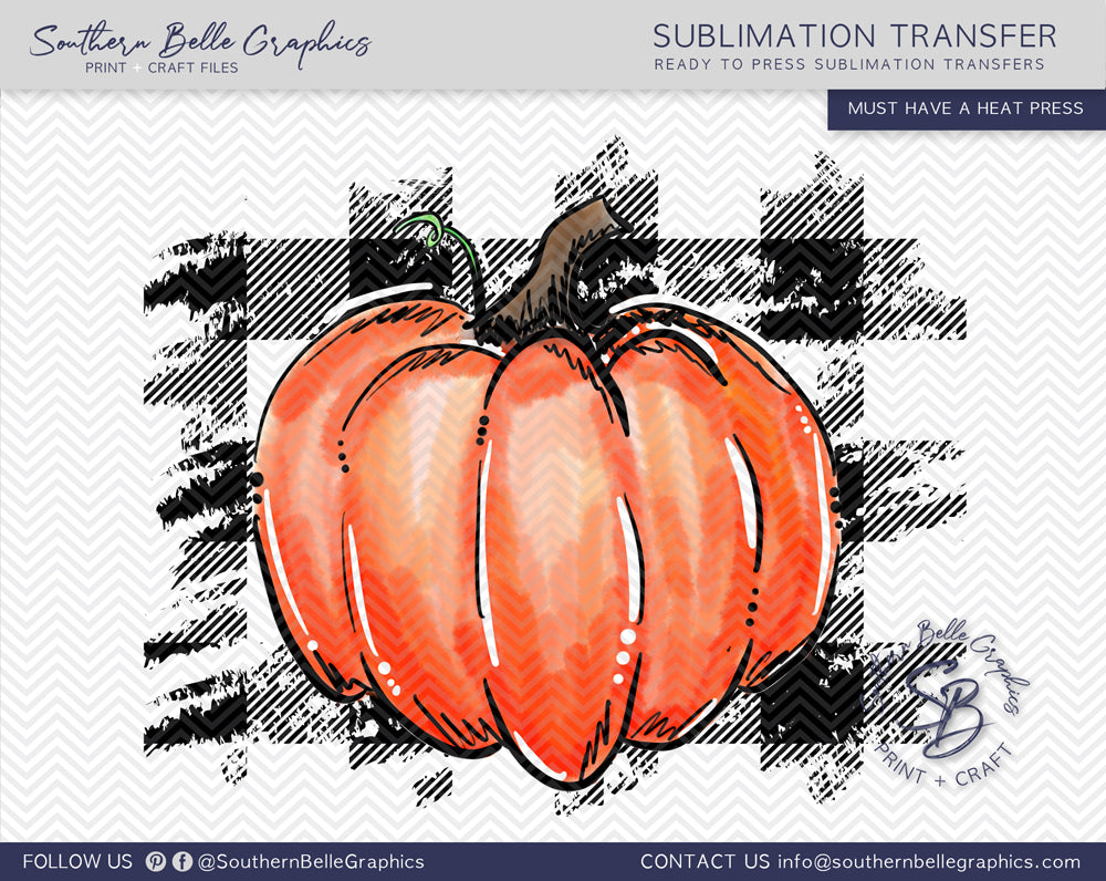 Buffalo Plaid Pumpkin Sublimation Transfer