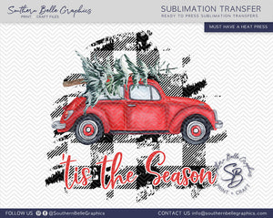 Red Volkswagen Bug Tis the Season, Watercolor Christmas Tree VW Bug Sublimation Transfer